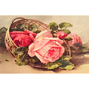 Antique Greetings Postcard, Roses, Switzerland, Paper