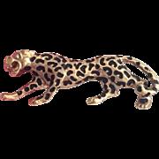 Leopard Brooch, Black and Gold, Enamel Pin