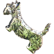 Scottie Dog Brooch, Sterling Silver, Retro Vintage Jewelry