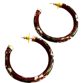 Cloisonne Enamel Hoop Earrings, Pierced, Chinese