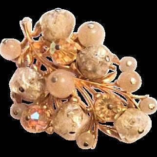 Forbidden Fruit Pin or Brooch, Art Glass, Coro, Designer Jewelry, Retro