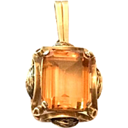 Citrine Pendant, 14K Gold, European Gold, Art Deco 1920s, Fine Vintage Jewelry WINTER SALE