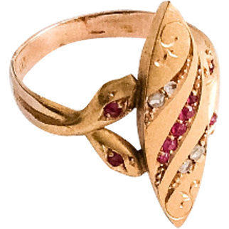 Snake Ring, Diamond, Ruby, 18K Gold Art Deco Vintage Jewelry