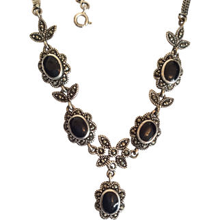 Onyx Marcasite Sterling Silver Necklace