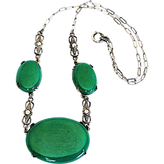 Chrysoprase Necklace, Marcasite, Sterling Silver, Art Deco Jewelry