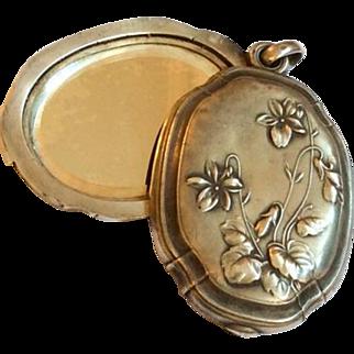 French Art Nouveau Slide Locket Pendant, Violets, European Silver Vintage Jewelry, circa 1910s
