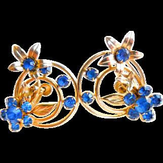 1940s Art Deco Transitional Blue Rhinestone Earrings, Vintage Jewelry