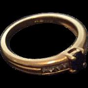 Sapphire Diamond Engagement Eternity Ring 18K Gold Vintage Jewelry