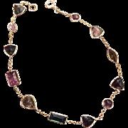 Tourmaline Bracelet Gemstones, Green, Pink, Yellow, 14K Gold, Vintage Jewelry