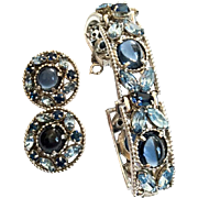 Barclay Bracelet with Earrings, Blue Glass Moonstone Cabochon, Navette Rhinestones, Silver Tone, Retro Mid Century Designer Vintage Jewelry Set
