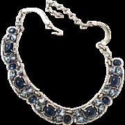 Barclay Necklace, Blue Glass Cabochon, Moonstone Navette Rhinestones, Silver Tone, Retro Mid Century Designer Vintage Jewelry Set
