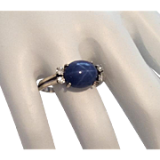Star Sapphire Cabochon Diamond Ring, 14K Gold, Art Deco Vintage Jewelry CHRISTMAS SALE