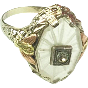 Camphor Glass Ring, Rock Crystal, Rose Gold, 10K Gold, Signed, Art Deco 1920s Vintage Jewelry