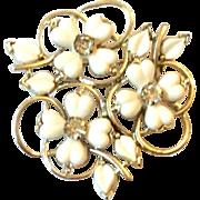 Kramer Brooch, Cream Lucite, Rhinestone, Designer Vintage Mid Century Jewelry