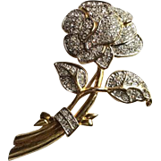 Large Rhinestone Flower Brooch, Nolan Miller Pin, Vintage Jewelry