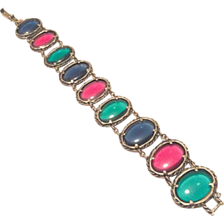 Unsigned Trifari Bracelet Gripoix Poured Glass, Red Green Blue, Art Deco // Retro Vintage Jewelry