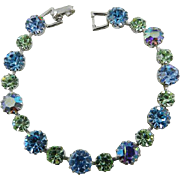 Weiss Aqua Blue with Peridot Rhinestone Bracelet, Silver Tone Vintage Jewelry