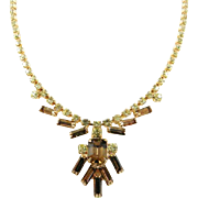 Smokey Topaz Glass with Jonquil Yellow Rhinestone Necklace Art Deco Revival Vintage Jewelry