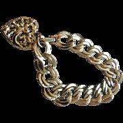 Monet Victorian Revival Bracelet, Gold Chain, Charm Fob, Heart, Vintage Jewelry CHRISTMAS SALE