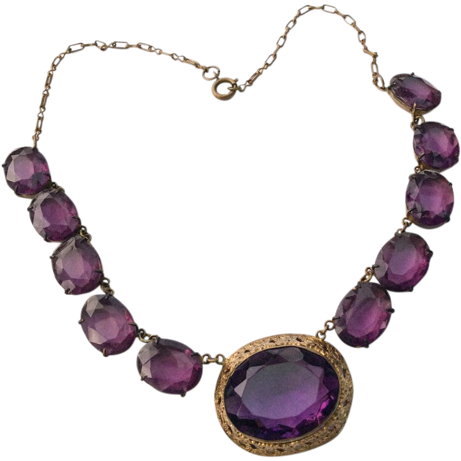 amethyst glass necklace 1920s czech vintage jewelry summer