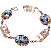 TL Mott Butterfly Wing Bracelet Art Deco Sterling Silver Vintage Jewelry