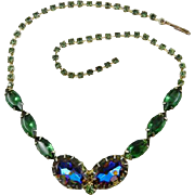 Juliana Tourmaline Green Glass Necklace with Watermelon Blue and Rhinestone Necklace Vintage Jewelry Summer SALE