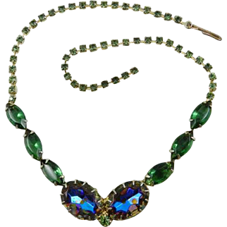 Tourmaline Green Glass Necklace with Watermelon Blue and Rhinestone Necklace Vintage Jewelry WINTER SALE