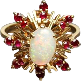 Opal Cabochon with Rubies 18K Gold Ring, Atomic Era 1950s Vintage Jewelry WINTER SALE