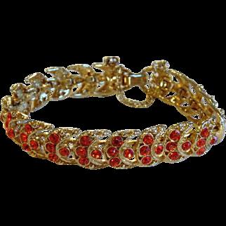 WEISS Crescent Moon Orange Rhinestone Bracelet Victorian Revival Vintage Jewelry WINTER SALE