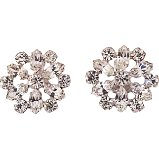 Designer DAVID Rhinestone Glass Flower Earrings Vintage Jewelry
