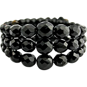 Black Glass Memory Wrap Bracelet Vintage Jewelry WINTER SALE