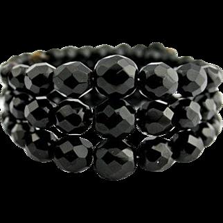 Black Glass Memory Wrap Bracelet Vintage Jewelry WINTER SALE