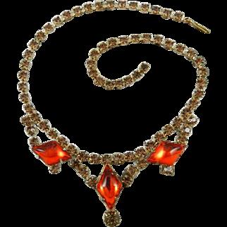 Orange Glass Necklace with Topaz Rhinestones Gold Tone Finish Vintage Jewelry