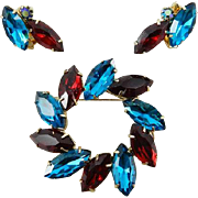 Siam Red and Blue Zircon Glass Brooch Earring SET Wreath Gold Tone Vintage Jewelry