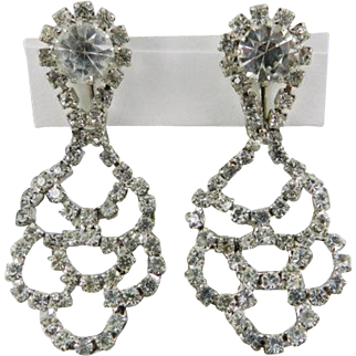Wedding Bridal Crystal Glass with Rhinestone Clip On Earrings Dangle Silver Tone Vintage Jewelry