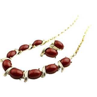 Chocolate Brown Lucite Necklace with Earrings Vintage Jewelry Set Gold Tone