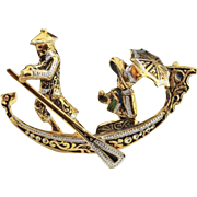 Damascene Gondola Boat Brooch Spanish Vintage Jewelry
