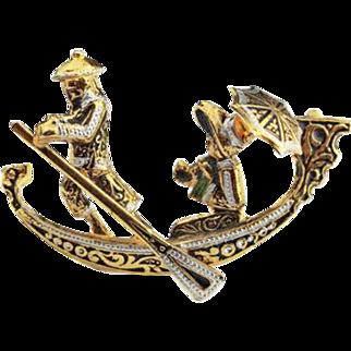 Damascene Gondola Boat Brooch Spanish Vintage Jewelry