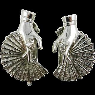 Lady Hands with Fan Rhinestone Earrings Silver Tone Vintage Jewelry SPRING SALE