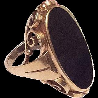 Art Nouveau Ring, 14K Gold Ring, Onyx, Vintage Jewelry WINTER SALE