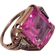 Pink Sapphire Ring, Diamond, 14K Gold, Art Deco, Vintage Jewelry, WINTER SALE