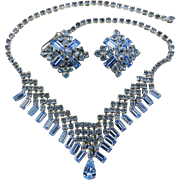 Blue Baguette Bib Necklace with Earrings Set, Rhinestones, Glass with Earrings 1960s Art Deco Revival Vintage Jewelry SALE