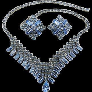 Blue Baguette Rhinestone Bib Necklace with Earrings 1960s Art Deco Revival Vintage Jewelry SALE