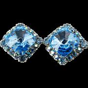 Blue Glass Rivoli Earrings Silver Tone 1960s Wedding Bridal  Vintage Jewelry WINTER SALE