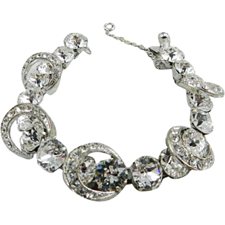 Eisenberg Bracelet, Crescent Moon, Rhinestones, Victorian Revival, Art Deco 1940s Wedding Bridal Vintage Jewelry SPRING SALE