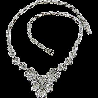 BOGOFF Rhinestone Necklace Pave Set Rhodium Finish Art Deco Vintage Jewelry