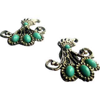 Peking Glass Dress Clips, Turquoise, Art Nouveau Dress Clips, Vintage Jewelry, WINTER SALE