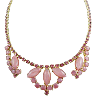 Pink Moonstone Glass Necklace with Rhinestones, 1950s Vintage Jewelry