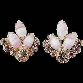 Juliana Earrings Pink White Givre Glass Earrings 1960s Vintage Jewelry WINTER SALE