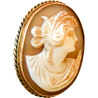 Victorian Cameo Pendant, 9K Gold, Goddess Ceres, Vintage Jewelry SPRING SALE